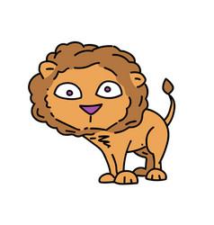 lion cartoon hand drawn image vector image