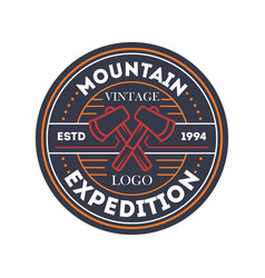 mountain travel expedition vintage isolated badge vector image vector image