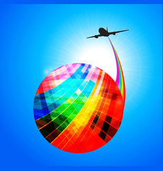 multicoloured globe with airplane silhouette and vector image vector image