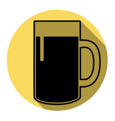 beer glass sign flat black icon with flat vector image vector image