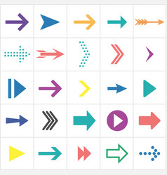 colored flat arrows collection of next icons vector image