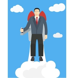 Flying Businessman Cartoon Graphic Design for vector image vector image