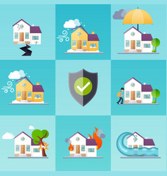 house insurance business service icons template vector image vector image