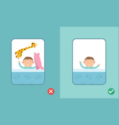 right and wrong safe sleeping baby vector image vector image