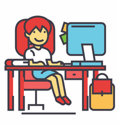school girl study workplace table with computer vector image vector image