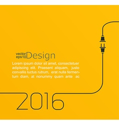 2016 - new year abstract line with wire plug and vector