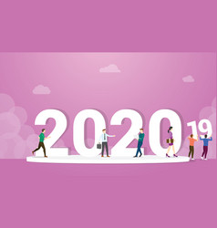 2020 new year change from 2019 with business man vector image