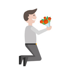 Adult male holding flowers vector