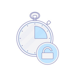 Alarm clock hour minute time timer unlock icon vector