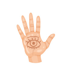 all-seeing eye on the palm open human hand with vector image