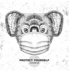 Animal koala wearing face medical mask covid-19 vector