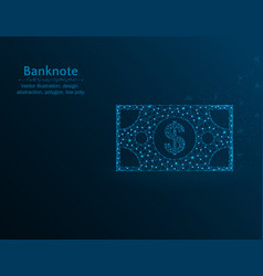 banknote with dollar sign low poly money polygon vector image