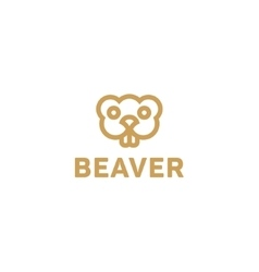 Beaver lines an outline monochrome vector