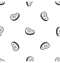 Beef steak pattern seamless black vector