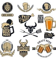 beer and steak vector image