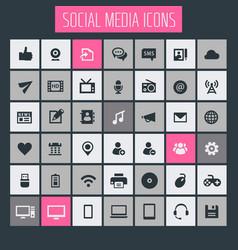 big social media icon set trendy flat icons vector image