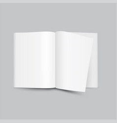 blank white open magazine front view on grey vector image