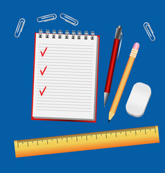 Blue table with a notebook pen pencil ruler for vector
