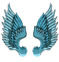blue wings isolated on white background design vector image vector image