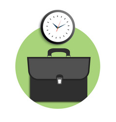Briefcase and clock icons vector image