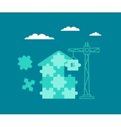 Building house from the particles of puzzles vector image