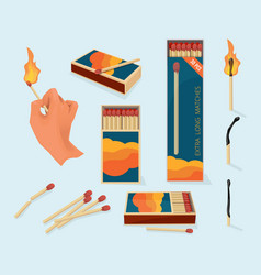 Burning matches safety packages for matchstick vector