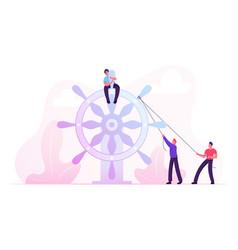 Businesspeople moving huge steering wheel bounded vector
