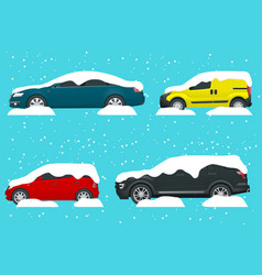 Cars covered in snow on a road during snowfall vector