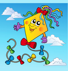 cartoon kite on blue sky vector image