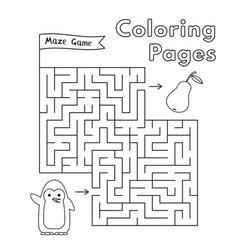 Cartoon penguin maze game vector