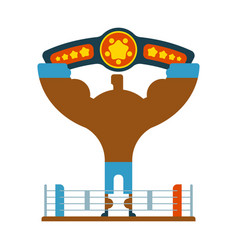Champion boxer winner hands up winning tournament vector