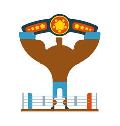 champion boxer winner hands up winning tournament vector image