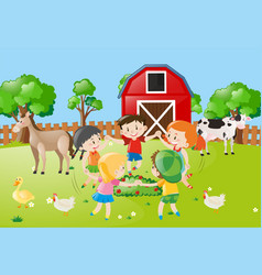 Children holding hands in circle in farm vector