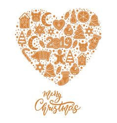 Christmas gingerbread cookies card merry christmas vector