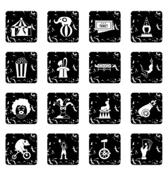 Circus entertainment icons set simple style vector image