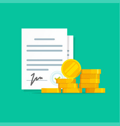 Contract success deal or agreement with money vector