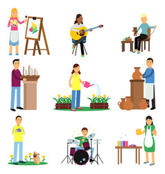Creative set of adult people and their hobbies vector