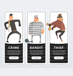 Crime bandit thief criminal and convict banners vector