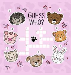 Crossword puzzle game for preschool kids activity vector