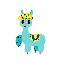 cute cartoon llama icon vector image