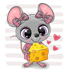 Cute cartoon mouse girl with cheese vector
