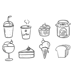 Different foods with drinks vector image
