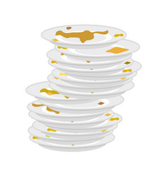 Dirty plates stack isolated unclean dishes vector