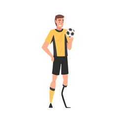 Disabled soccer player in sports uniform with ball vector