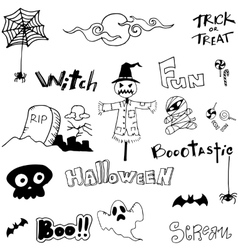 Doodle scary ghost halloween vector