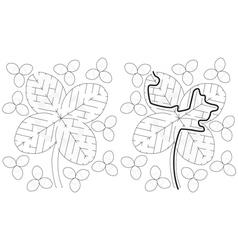 Easy four leaf clover maze vector image