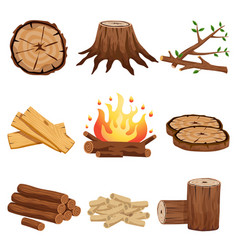 Firewood elements set vector