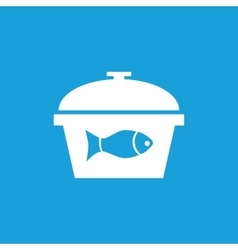 Fish in saucepan icon white vector