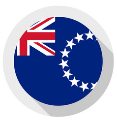 Flag cook islands round shape icon on white vector
