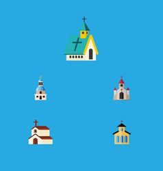 Flat icon christian set of traditional catholic vector